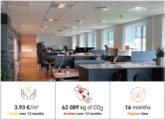 office with foobot sab installed to save energy and improve indoor air quality